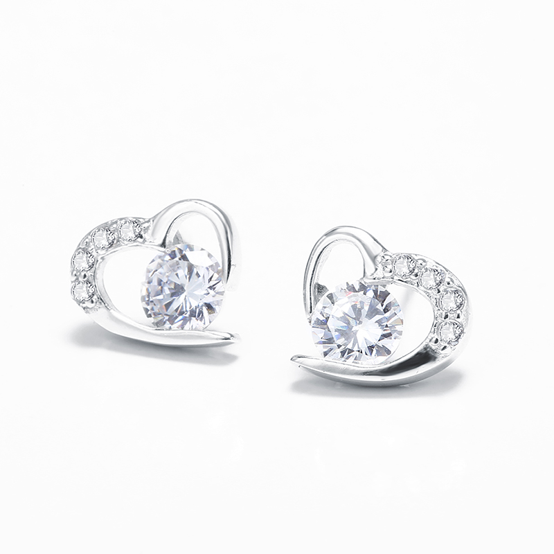 Luxury Brand Heart Band Real Pure 925 Sterling Silver Jewelry Cubic Zirconia Stone Earrings Fashion Women Favourites