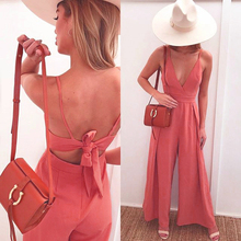 цены Womens Jumpsuit Lady Rompers Flared Sexy V Neck Overalls Sleeveless Back Bowknot Playsuit female dungarees Pantsuit Black Pink