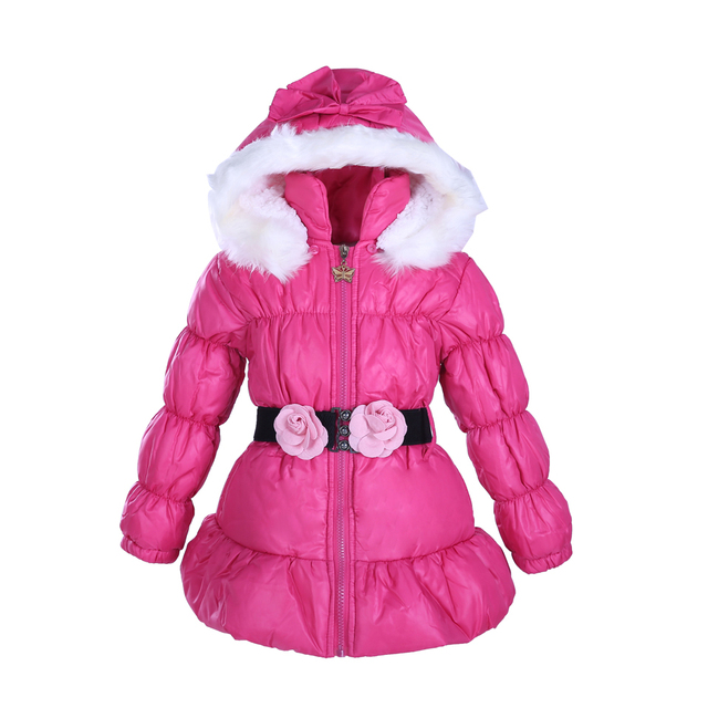5a6c7c17f Pettigirl Spring Winter Hot Pink Hooded Coat Kids Warm Jacket With ...