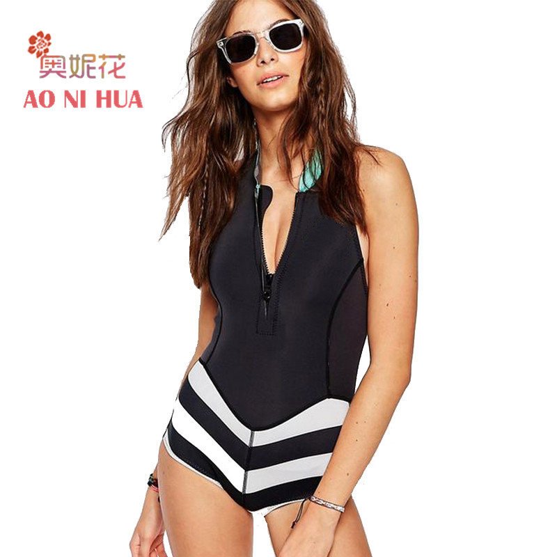 AONIHUA 2018 Black One Piece Swimsuit Women Sexy Front Zipper bodysuit Surfing Rash Guards Swimwear Female Summer swimming suit
