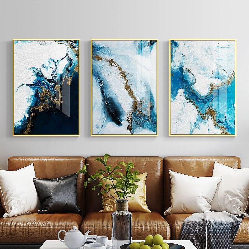 Nordic абстрактный цвет spalsh Синий Золотой холст картина плакат и принт уникальный Декор стены книги по искусству фотографии для гостиная спал...