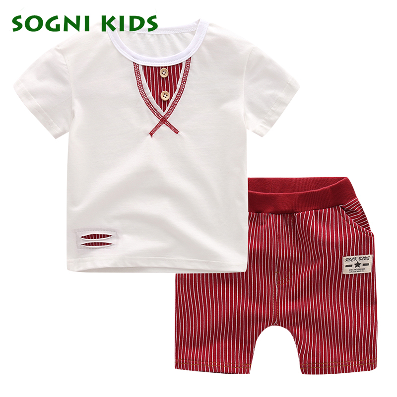 SOGNI KIDS clothes set boys summer casual Simple Striped boys clothing sets fish short sleeves T