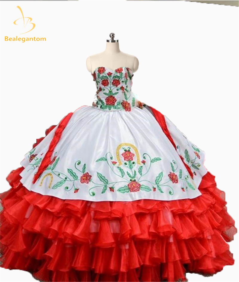 Новый элегантный 2017 красный Вышивка бальное платье Бальные платья органза Длинные День рождения платье Кружева до сладкий 16 Платья QA1128