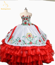 새로운 우아한 2017 레드 자수 볼 가운 Quinceanera 드레스 Organza 긴 생일 가운 레이스 16 달콤한 드레스 QA1128