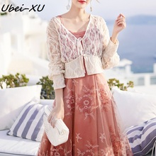 Ubei 2019 vintage crochet halter dress sleeveless summer fairy +white  lace cardigan women two piece set fashion