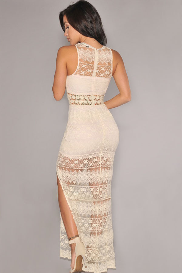 New Maxi 2016 Sexy Women Summer Cream Crochet Accent Lace Long Gown Dress  Party Women Elegant Dresses for Sale-in Dresses from Women s Clothing on ... f2af9d744b8b