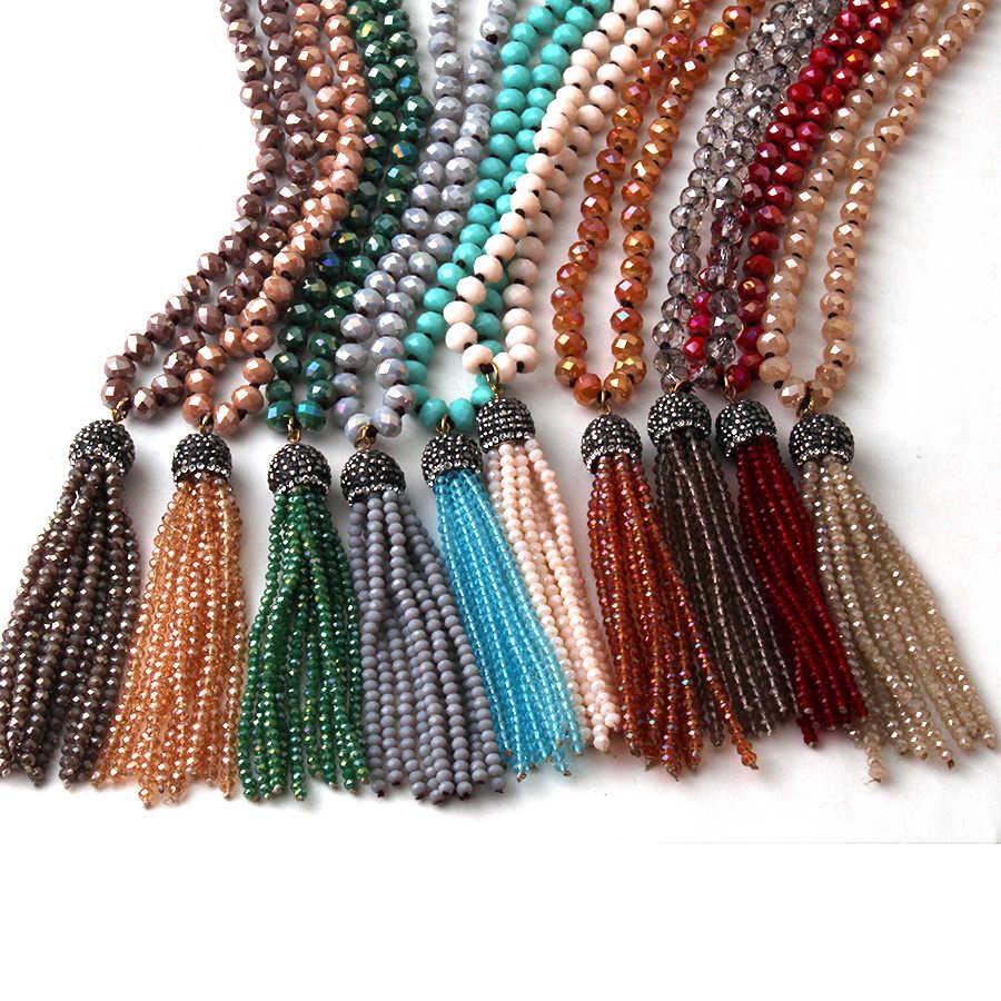 b32965130273 Moda Bohemia joyería Tribal de anudada de cristal borla collares para  mujeres collar