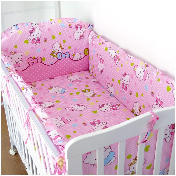 ФОТО Promotion! 6PCS Hello Kitty Newborn Baby Bedding Set Cotton Baby Crib Bedding Set For Girl  ,include:(bumper+sheet+pillow cover)