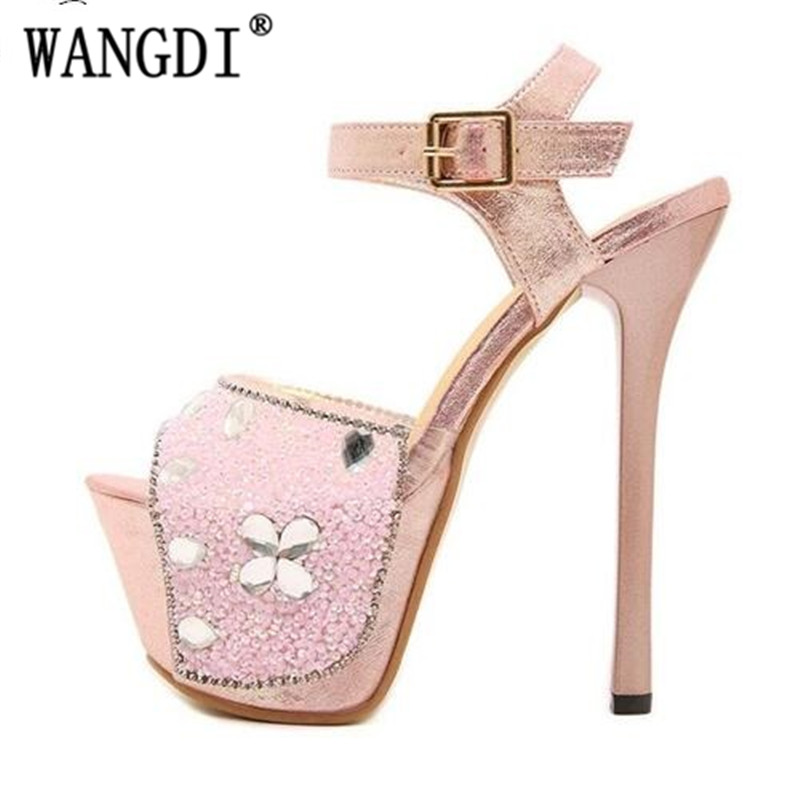 Sandalen Schuhe Taiwan Sommer weiß Fein Rosa Hohe Mit Nachtclub Super Cm Laufsteg Glitter Sexy Hochhackige Modelle Frauen 20 Wasserdichte C55qExwR