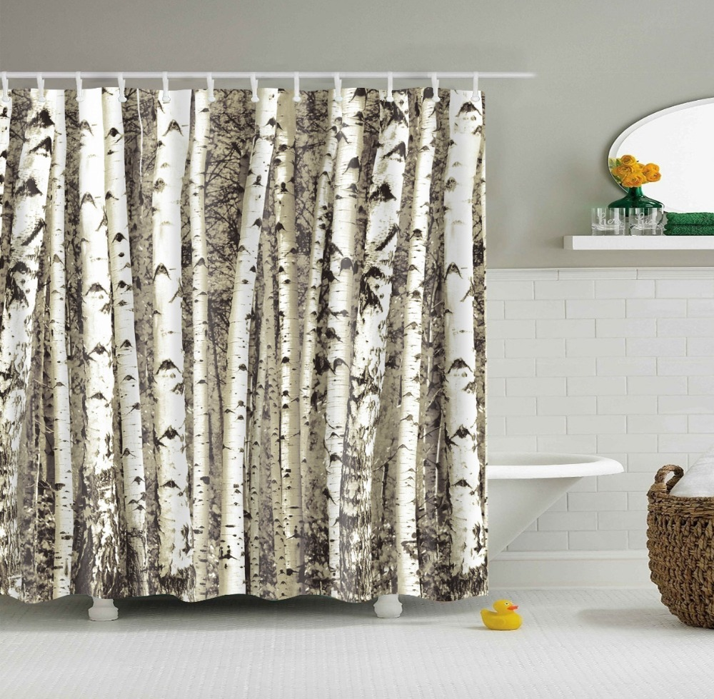 Birch tree shower curtains - Birch Tree Shower Curtain Waterproof Bathroom Cortina Ducha Rideau Douche 2017 New Elegant Tree Shower Curtains