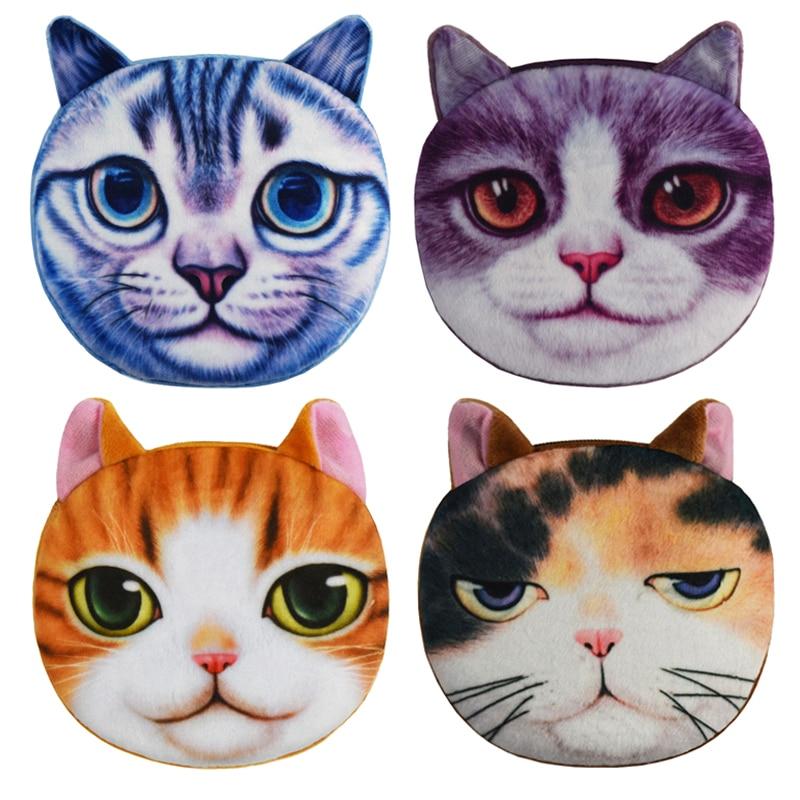 2016 New Design 3D Cat Coin Wallets Women Coin Storage Bags Kids Wallet Plush Gift Female Cute Cat Purses