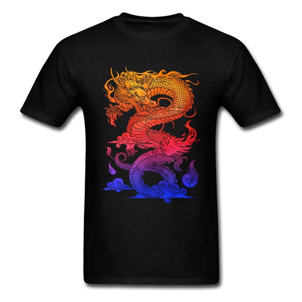 Прочный Шарм Новые мужские футболки Красочные Спортивные футболки китайский дракон и ткань одежда черные рубашки