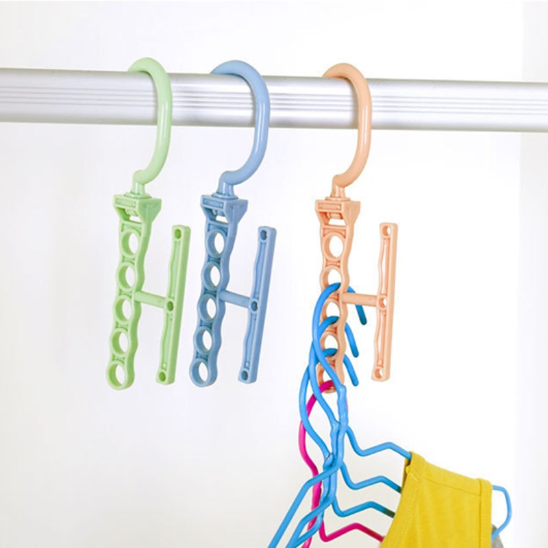 Multi Function Clothes Hangers Space Saving Closet: Clothes Hanger Plastic 5 Hooks Holes Space Saving Multi