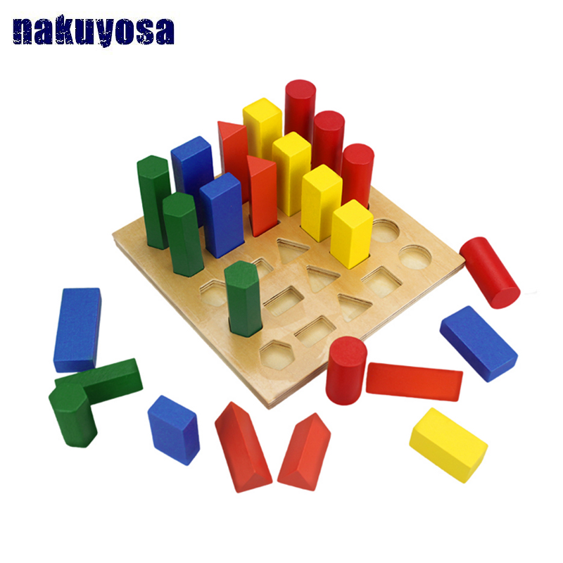 Classic Wooden toys Montessori Cylinder Ladder Board Wood Learning Length Geometrical Shape Color Sort Kid Toys Educational Toys