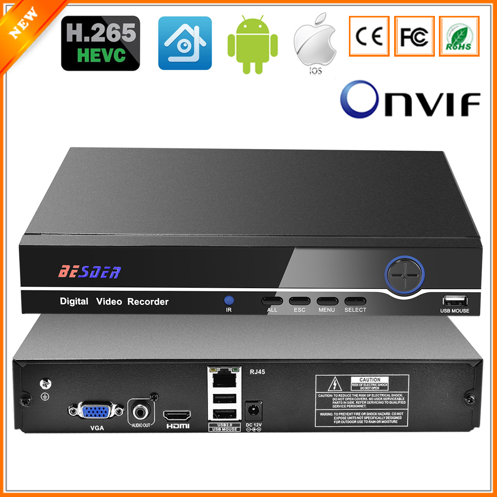 BESDER HI3536C H 265 8CH 4K 25CH 5MP CCTV NVR Max 4K Output ONVIF Security Video
