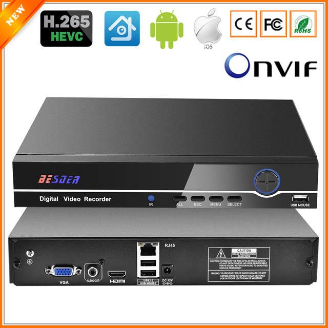US $71 42 35% OFF BESDER HI3536C H 265 8CH 4K / 25CH 5MP CCTV NVR Max 4K  Output ONVIF Security Video Recorder H 265 1CH Audio I/O 1*SATA Port-in