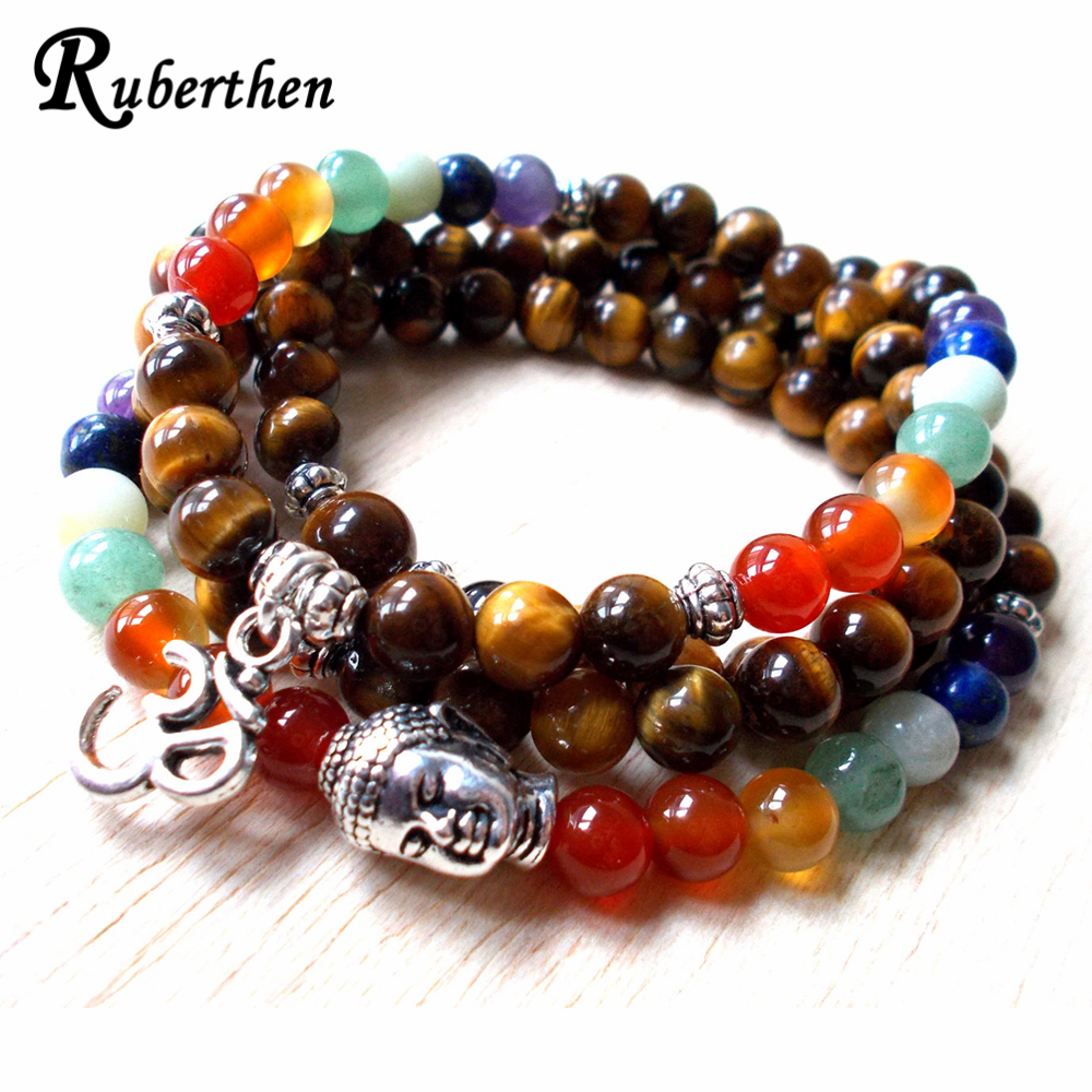 Ruberthen Fashion Women`s Bracelet 7 Chakra 108 Mala Design Bracelet Natural Tiger Eey Buddha Head Bracelet Trendy Yoga Gift