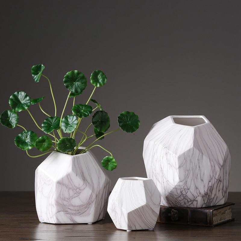 Europe Marble pattern ceramic vase ornaments Creative Flower Arrangement Geometry Vase Handmade Crafts home weddings decoration