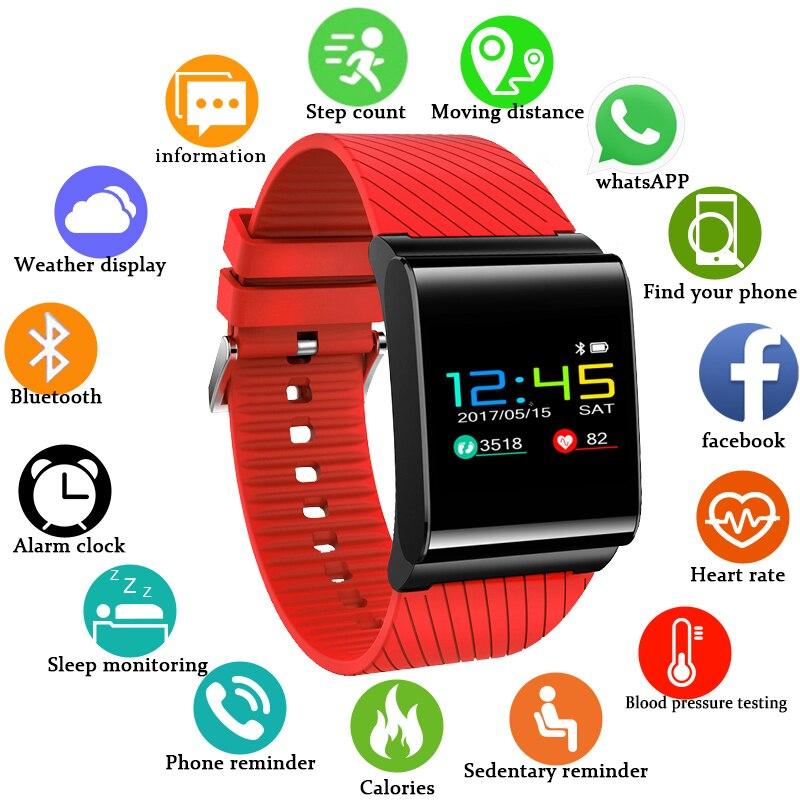 BANGWEI спортивные умные часы женские пульсометр кровяное давление монитор фитнес-трекер СВЕТОДИОДНЫЙ цветной экран водостойкие умные часы + ...