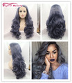 New Fashion 24inch Long Wavy Purple Gray Lace Frontal Hair Wigs Synthetic Glueless Front Lace Wigs For Black Women Cabelo Pelo