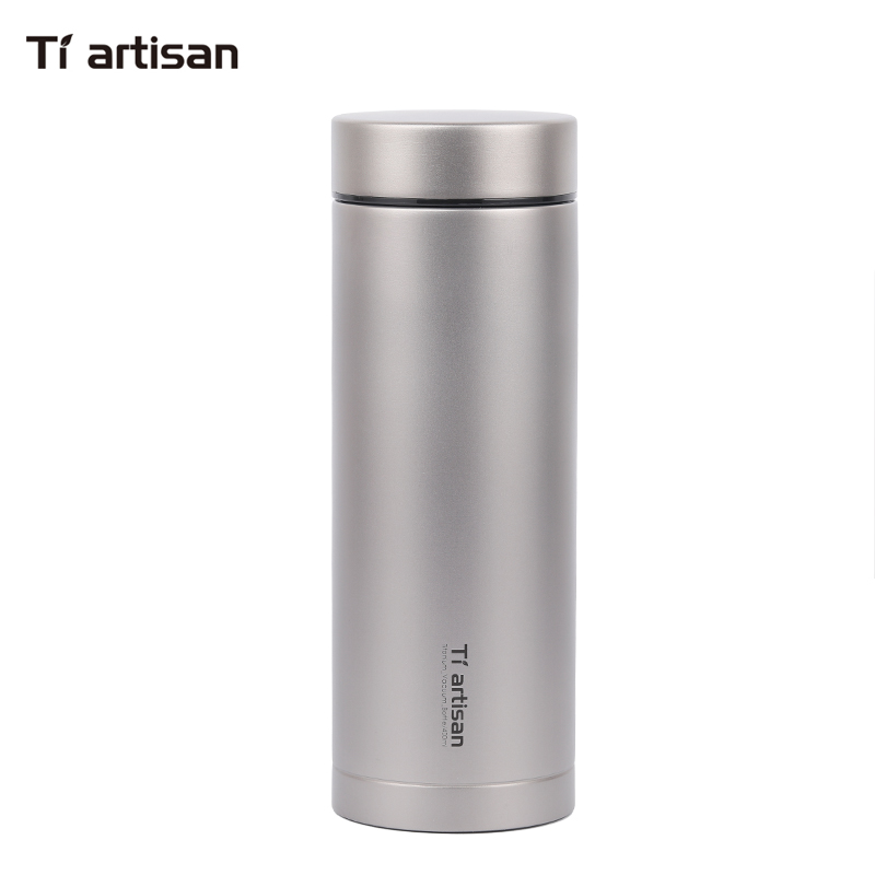 Hot Selling Titunium double wall insulated thermos vacuume bottle with tea filter Outdoor drinkware 400ml cups