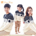 Olhar família 2017 mommy and me roupas da moda mãe pai família algodão bebê clothing bordado estrela família roupas combinando