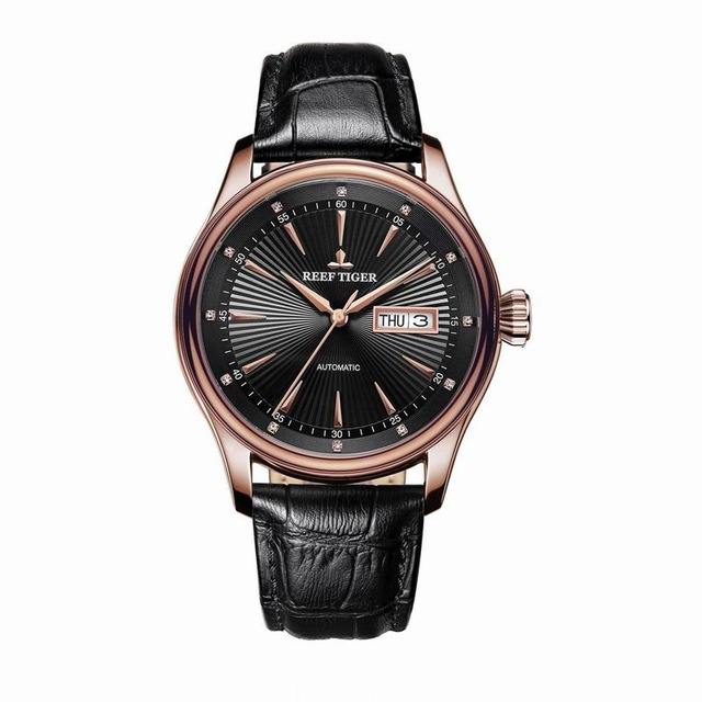 리프 타이거 클래식 serier rga8232 남자 패션 비즈니스 울트라 얇은 방수 자동 기계 손목 시계 가죽-에서기계식 시계부터 시계 의  그룹 1