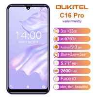 "OUKITEL C16 Pro Smartphone 3GB 32GB MTK6761P Quad Core 5.71 ""Waterdrop écran 19:9 empreinte digitale LTE 2600mAh visage ID Mobile"