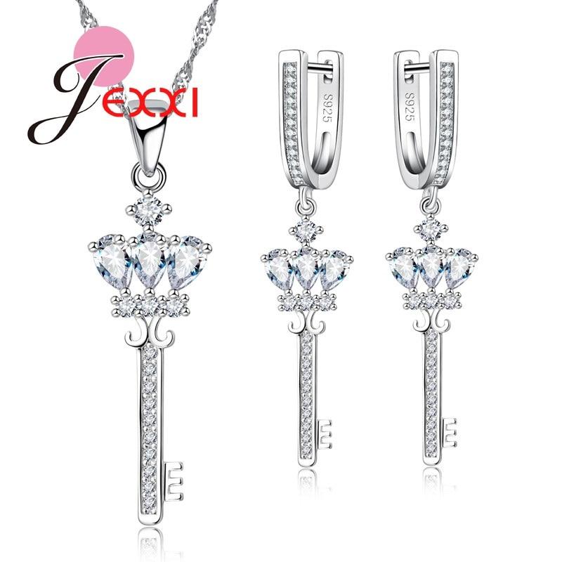 eaa7b6eac64d Patico gracia princesa corte CZ cristal Juegos de joyería Plata de Ley 925  y cristal austriaco completo pavimentado collar dominante Pendientes
