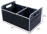 Foldable Cargo Trunk Organizer Large Capacity Storage Heavy Duty Construction Box with Handle 1600D Oxford fabric