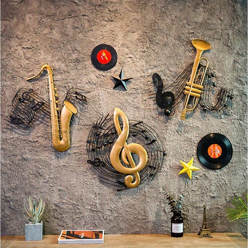 Nordique Vintage vieux Saxophone guitare ornements fond créatif décoration murale artisanat Figurines décoration de la maison accessoires - 2