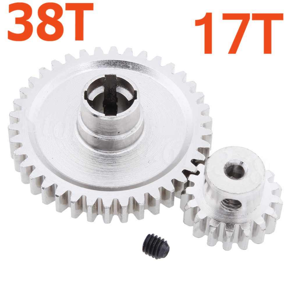 Stalen Metalen Diff Main Gear 38 t & Motor Gear 17 t Voor RC 1/18 WLtoys A949 A959 A949 A959 a969 A979 RC Auto Buggy Truck HSP