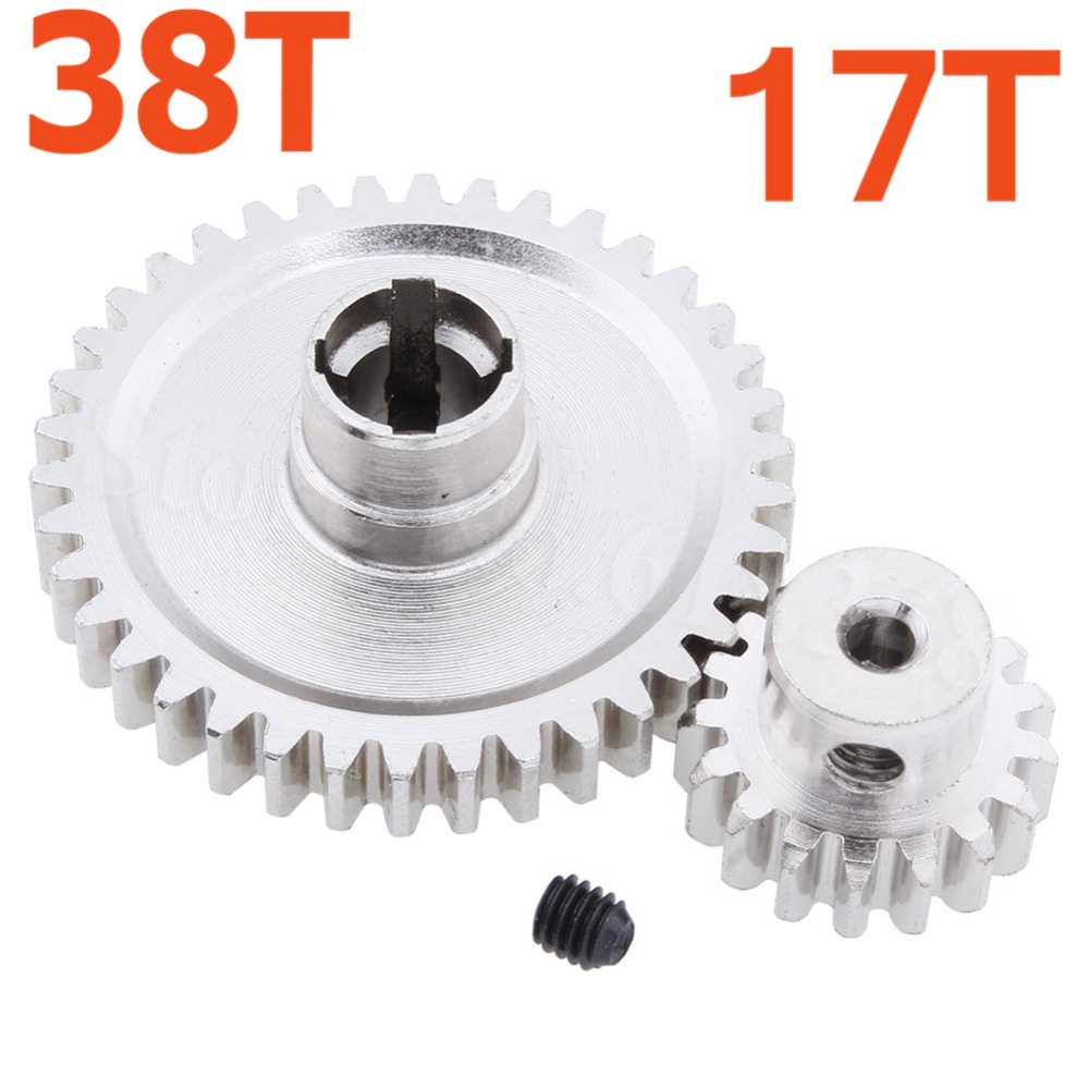 Stahl Metall Diff Wichtigsten Getriebe 38 t & Motor Getriebe 17 t Für RC 1/18 WLtoys A949 A959 A949 A959 a969 A979 RC Auto Buggy Lkw HSP