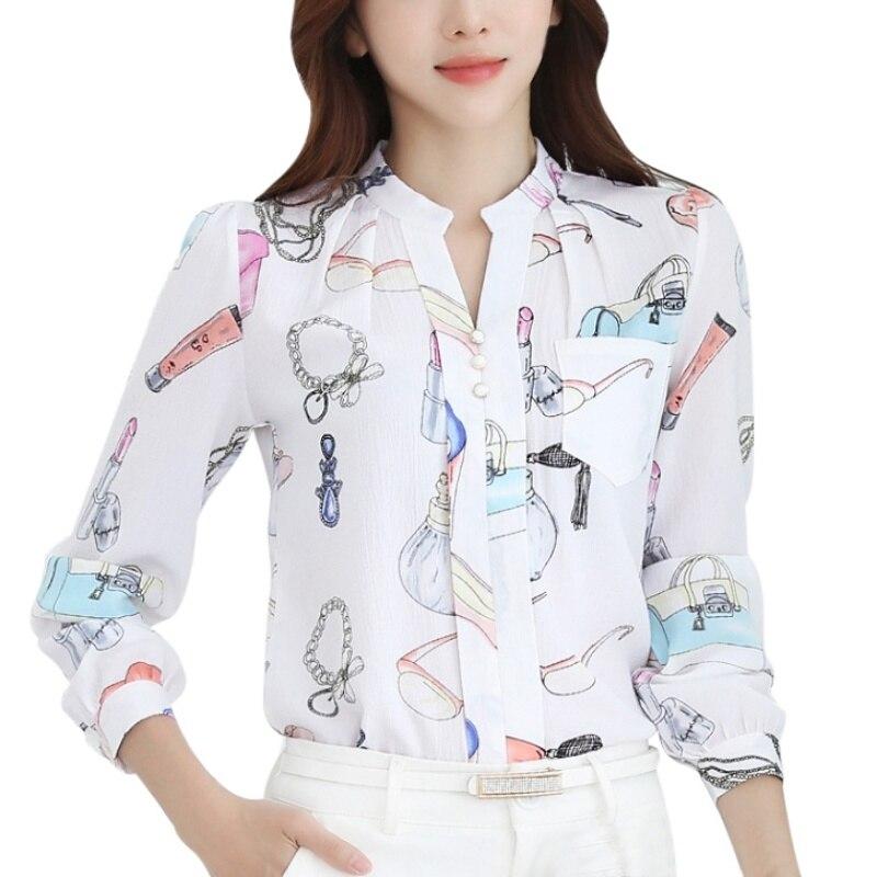 ddb75a168f8 Весна Для женщин шифон Блузки для малышек офисные Повседневная обувь Рубашки  для мальчиков v-образным вырезом тонкий Блузки для малышек Топ..