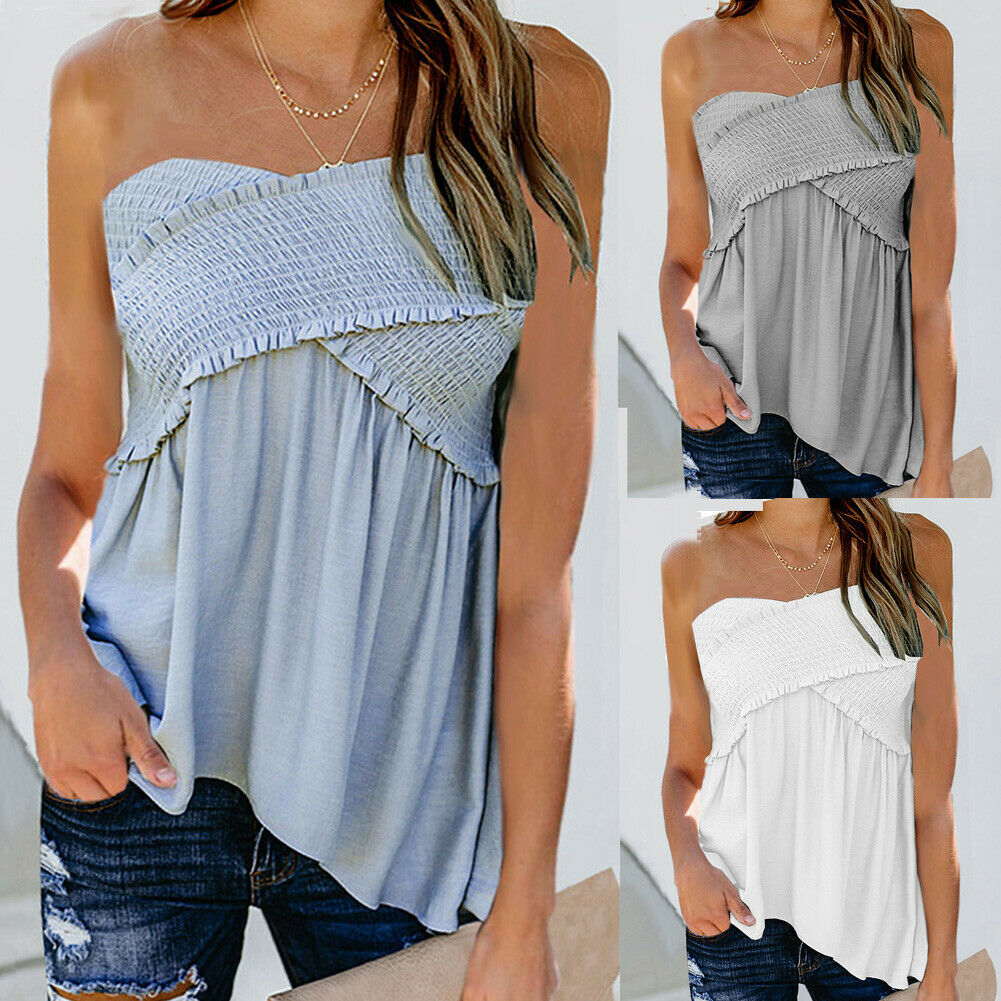 Womens Ladies Casual Summer Strapless Bandeau Boob Tube   Tops   Blouse Sexy Sleeveless Solid Camis Vest