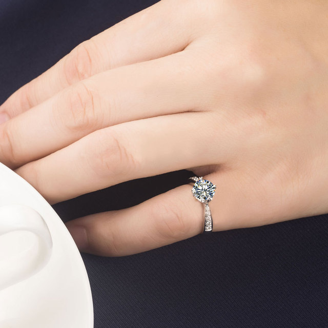 Memorable Anniversary Design Jewelry Gift  1 Carat Real NSCD Lovely Diamond Engagement Wedding Ring A-OK Quality Guarantee
