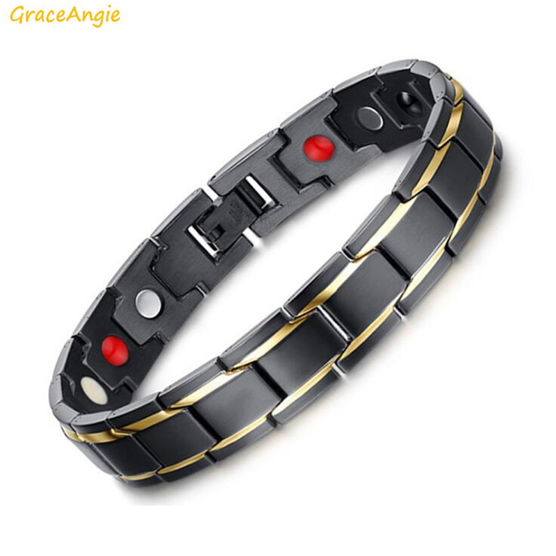 GraceAngie 1PC Titanium steel Hologram Bracelet Germanium Magnets Negative Ion Far Infrared Inside Health Men Jewelry 12*220mm