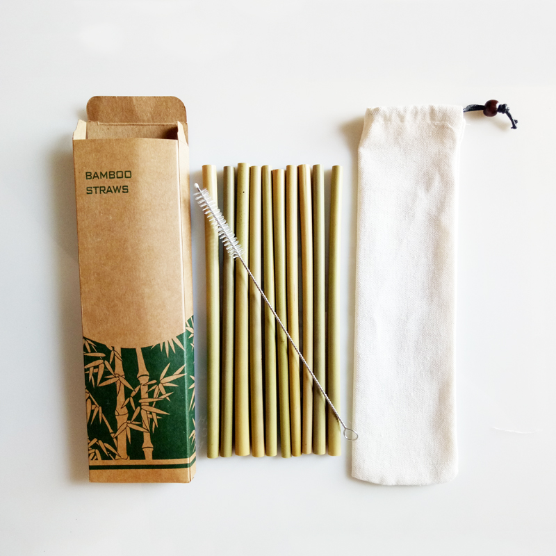 10Pcs Reusable Straws Natural Bamboo Straw Eco Friendly Drinking Straw Wedding Party Bar Accessories Straw Set Wth Brush and Box (2)