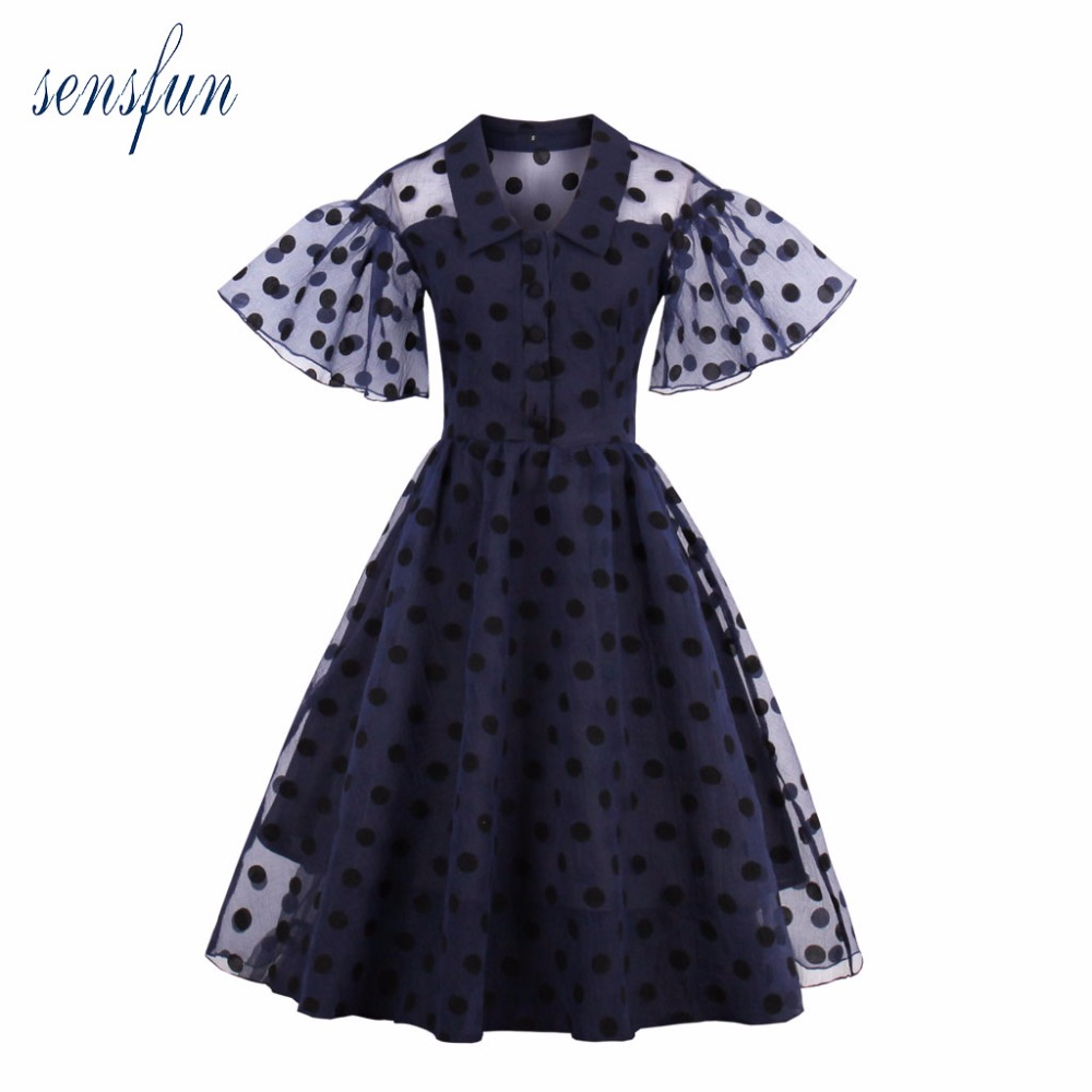 Sensfun Summer Dress 2017 1950 60s Women Cotton Hepburn Robe Vintage Dress A Line Elegant Vestidos Retra Party Dresses Sundress