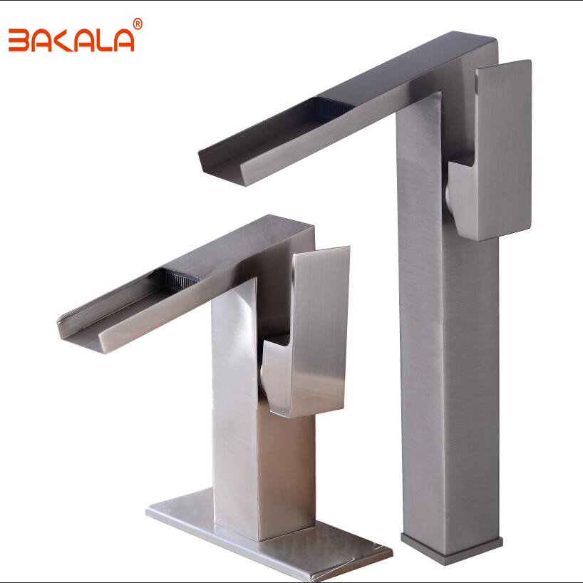 цена на BAKALA New Arrival Deck Mounted Single Handle Basin Faucet Brushed Nickel Waterfall faucet Hot and Cold Water Mixer Taps