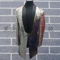 Мужские полный блестки швейные серебристо-серый/красный/зеленый цвет событие/этап/танец/пение смокинг куртка