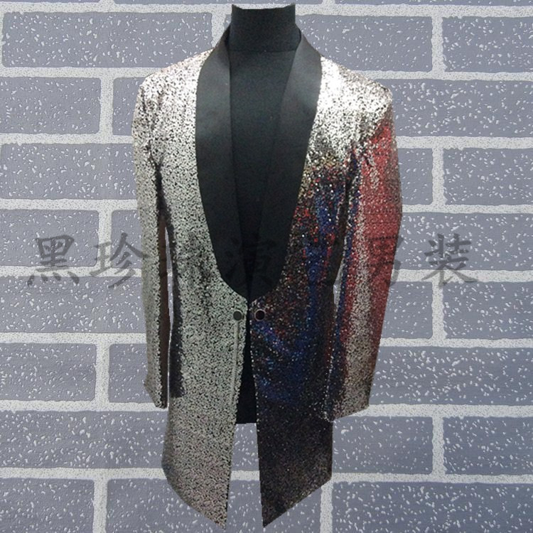 font b mens b font full sequins sewing silver grey red green color event stage