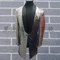mens full sequins sewing silver grey/red/green color event/stage performance/dance/singing tuxedo jacket
