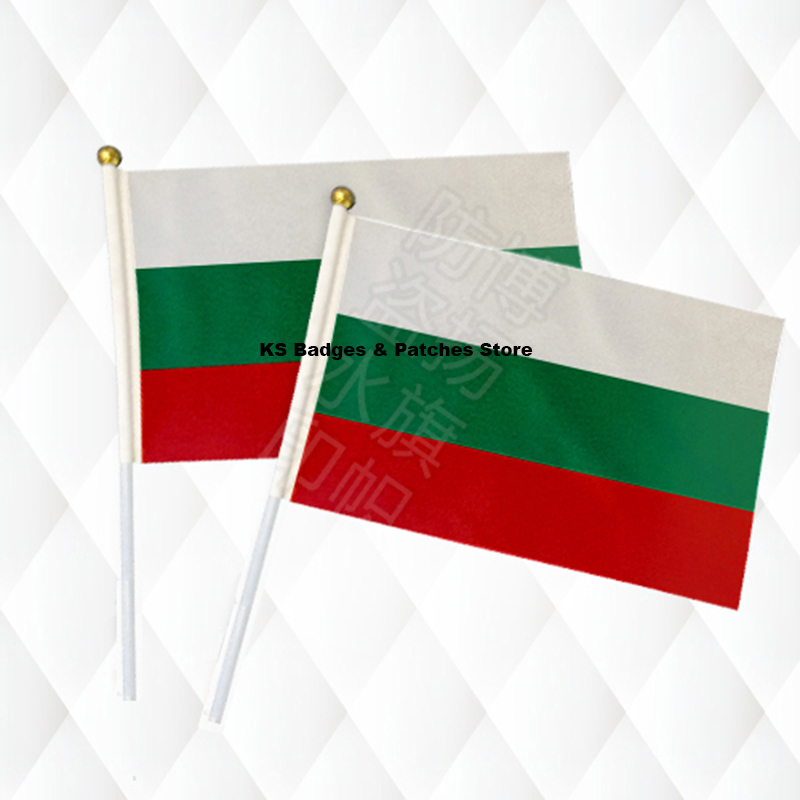 Bulgaria Fabric Flags 14*21CM with Plastic Hand Held KS-0032