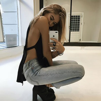 2017 Summer Harajuku Women New Sexy Solid Color Sleeveless Split V Neck Female Lace Up T