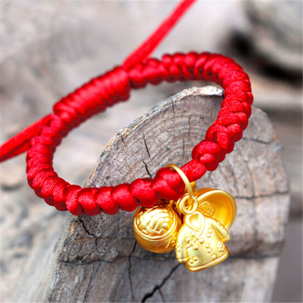 Baby Red Rope 999 Silver Gold Plated Pendant Children Bracelet 0-7 Years Lucky Bracelet Hand Knitted Anti Bite Design Wholesale