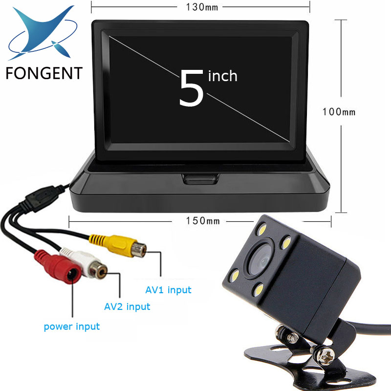 Fongent 5 inch TFT LCD Color Screen Car monitor Rearview Reversing parking monitor Foldable design Back Up Off Mirror Monitor color block panel pouch design string t back