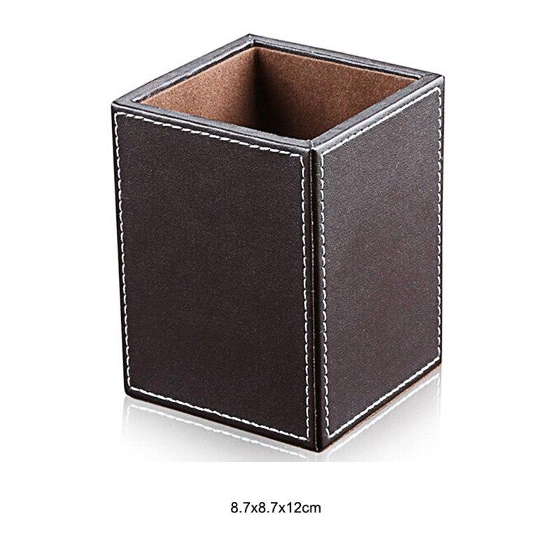 Из искусственной кожи с настольной подставкой косметический уход за кожей макияж организатор настольная подставка для ручек аксессуары для хранения сетки контейнер подарки коробка чехол - Цвет: B2