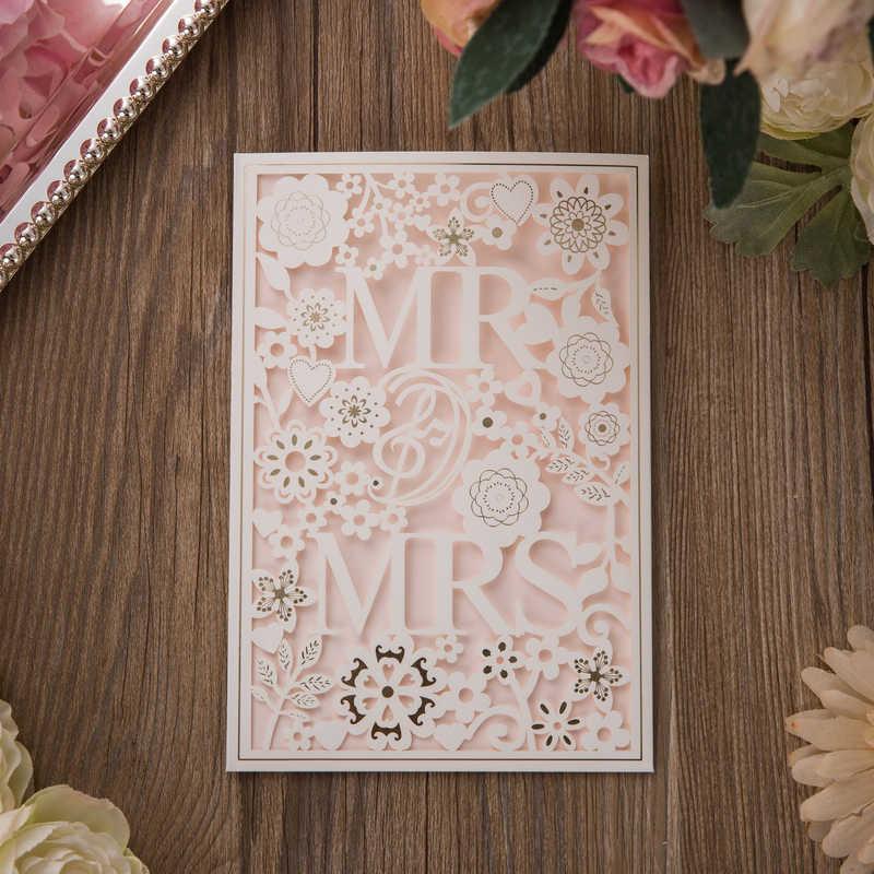 1pcs Sample White Laser Cut Wedding Invitations Card MR&MRS Elegant Greeting Card with Envelopes Wedding Party Favor Decoration