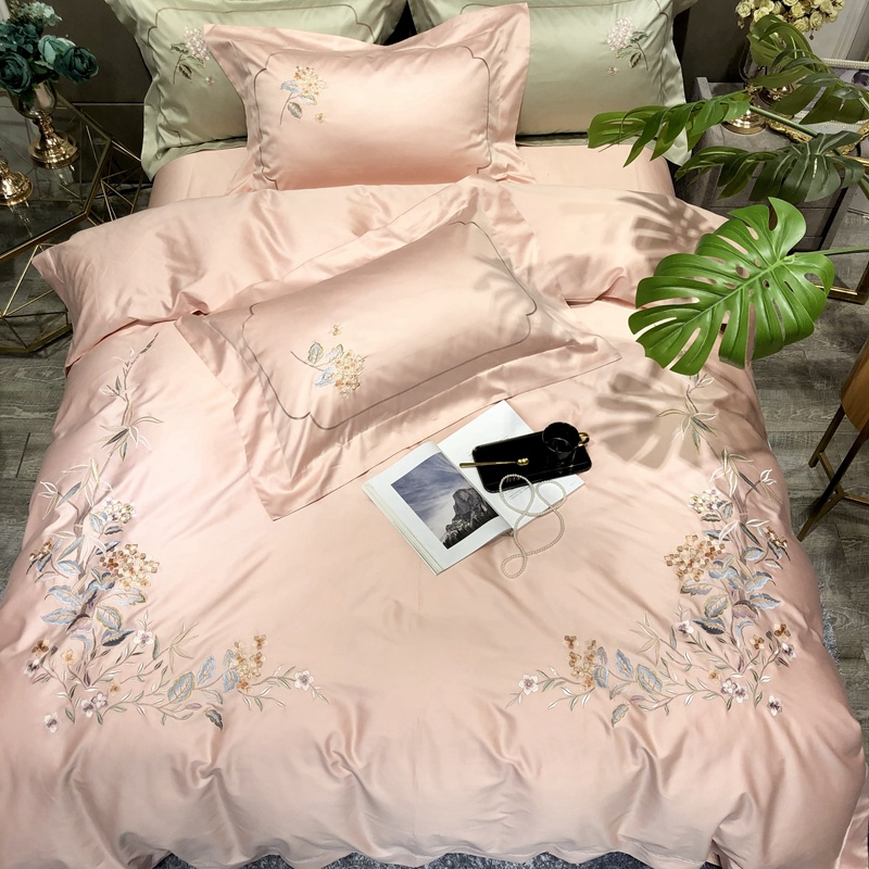 Pink Luxury 100S Egyptian Cotton Chinese Style Classical Flowers Embroidery Bedding Set Duvet Cover Bed Sheet/Linen Pillowcases
